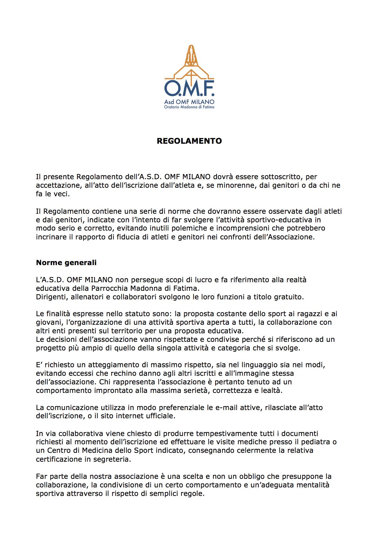 Regolamento interno parrocchia madonna di fatima for Regolamento igiene milano