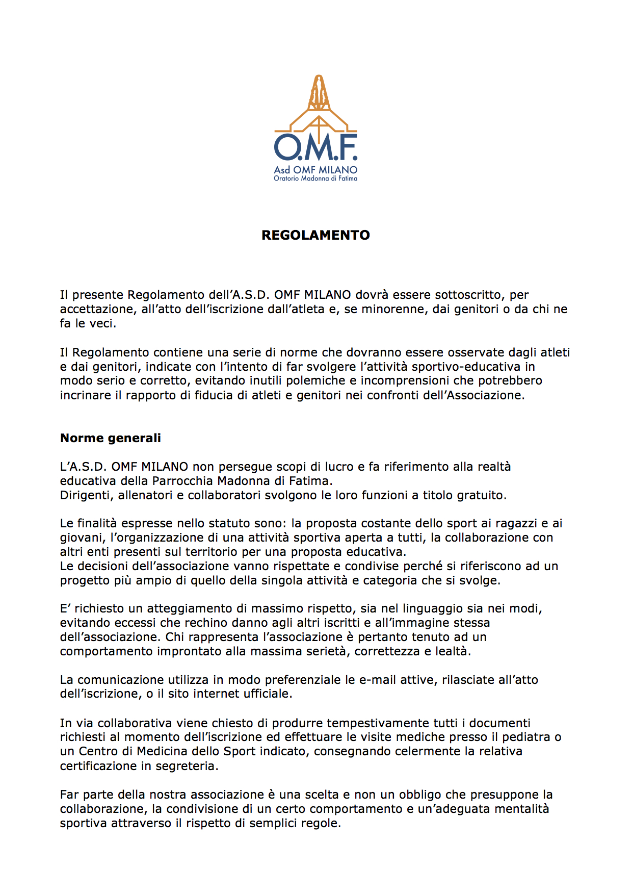 OMF - Regolamento interno 1
