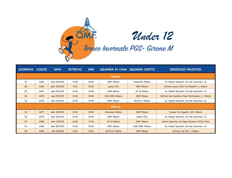 Calendario Csi Milano.Volley Under 11 Parrocchia Madonna Di Fatima